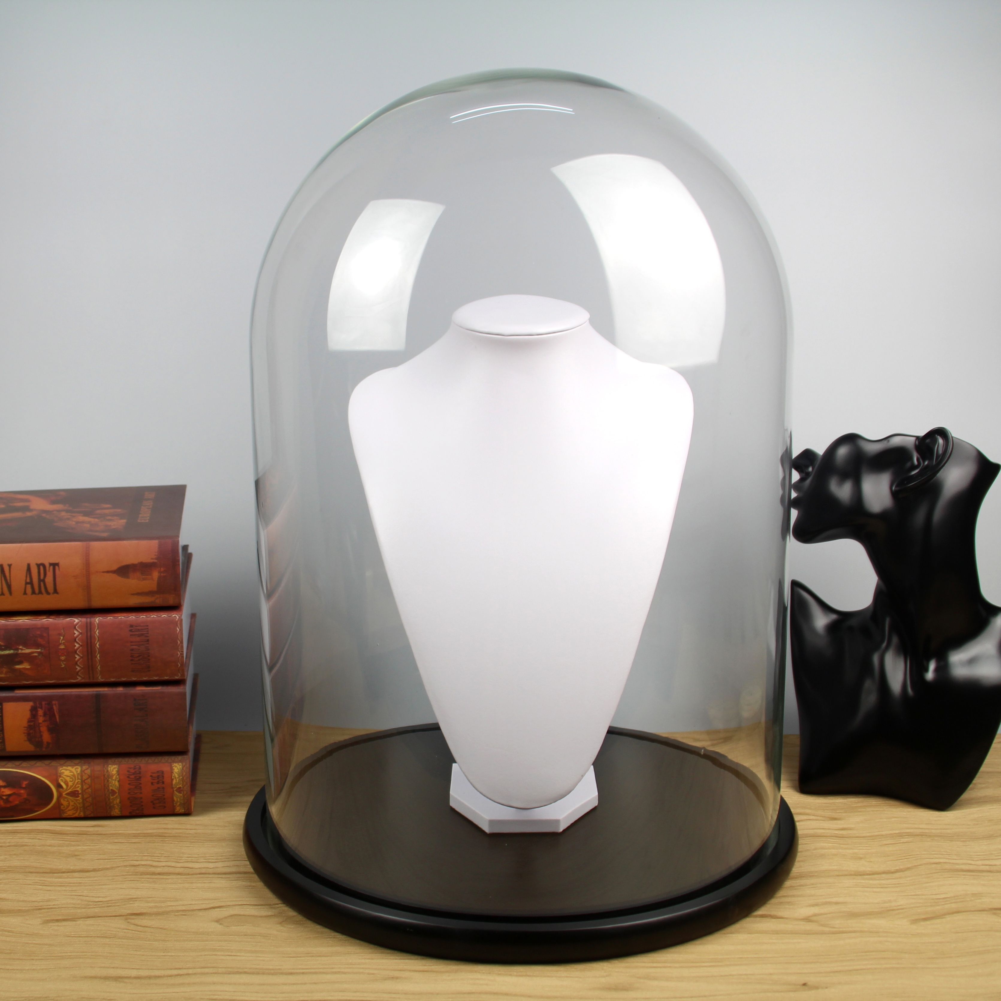 Large Display Glass Dome With Wood Base D35xH50cm