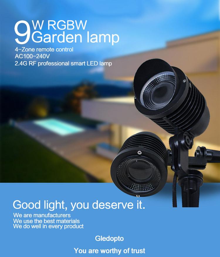 gledopto 2.4g rf mini rechargeable diverless rgbw rgb led garden spike lamp,landscape garden lamp