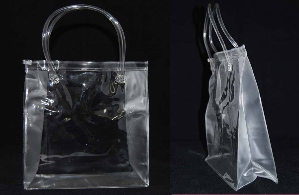 heat sealed bag - PVC bag - 3 pcs cuttings - 3 sides gusset - ziplock, tube handle