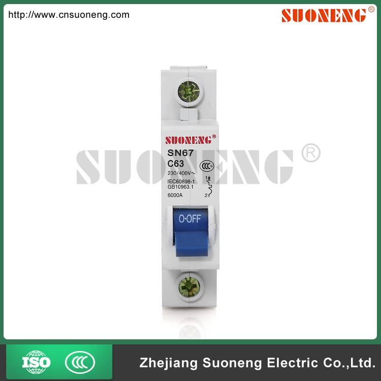 DZ47 ISO9001 63A 1 pole circuit breaker