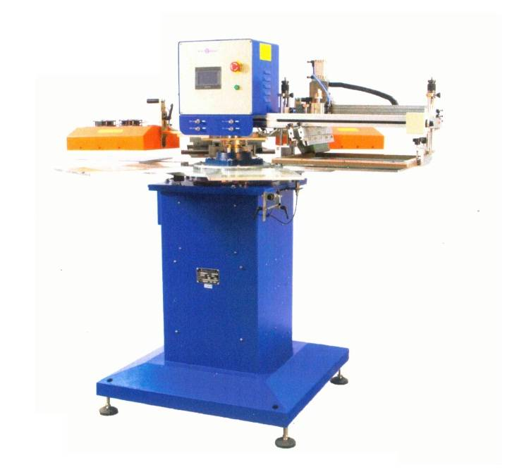 SR-300F6F-2 Two-color high speed tagless/label screen printer with high precision indexer