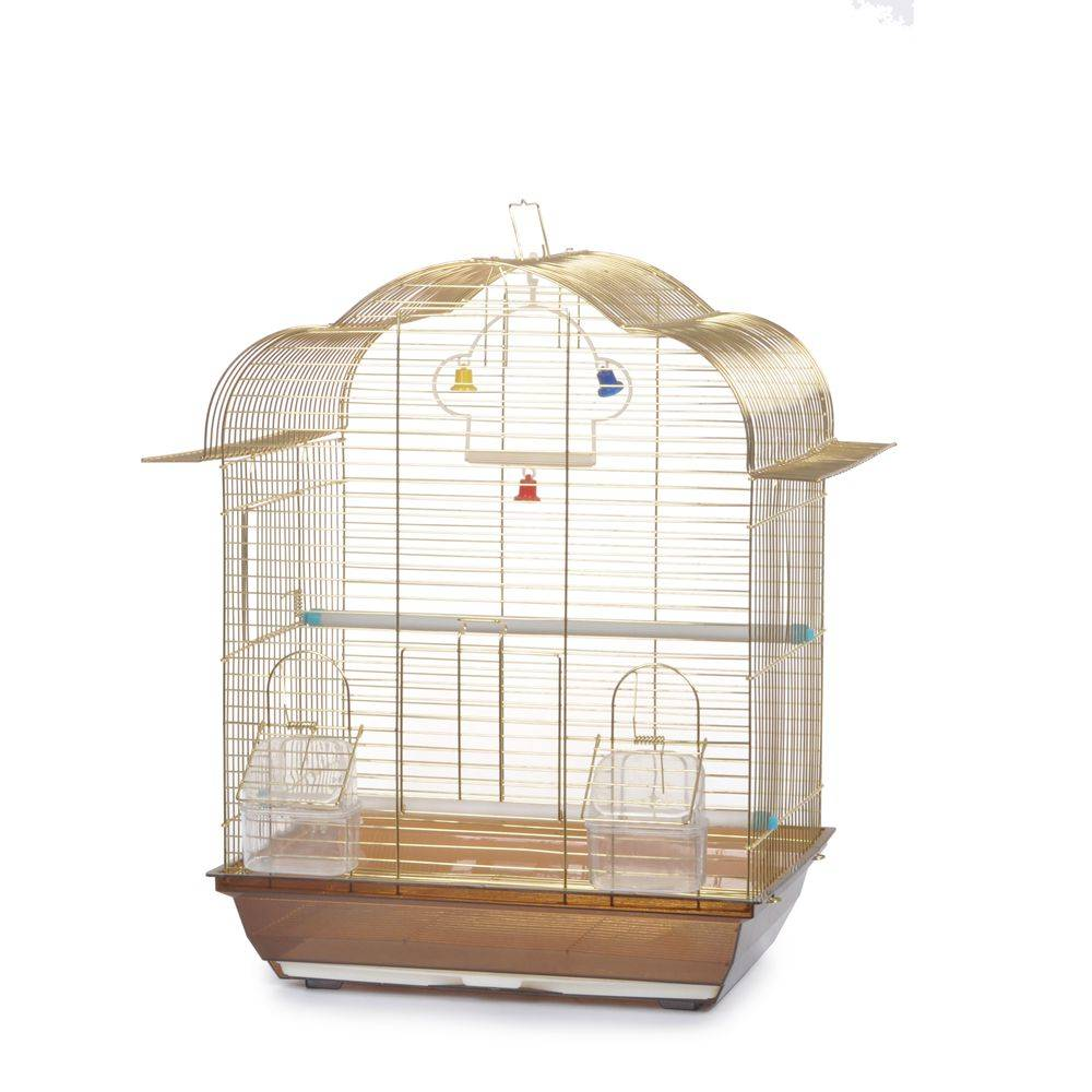 Golden metal bird cage 37X28X48cm
