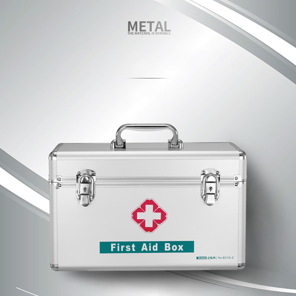 12 Inch Portable Handle Locking First Aid Box Silver Color B016-1