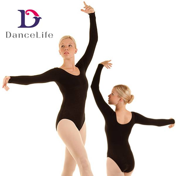 dance long sleeves and scoop neck unitards