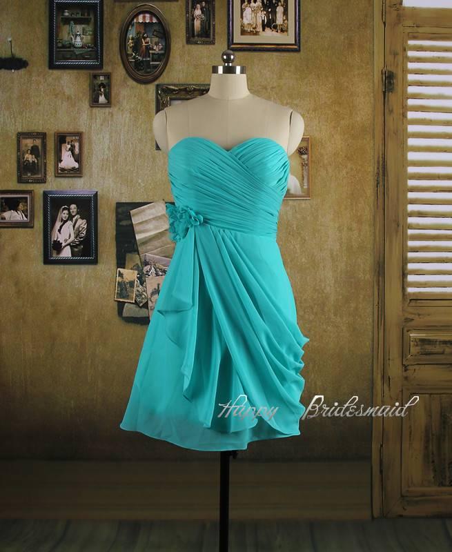 Turquoise Short Bridesmaid Dress, Chiffon Prom Dress, Homecoming Dress