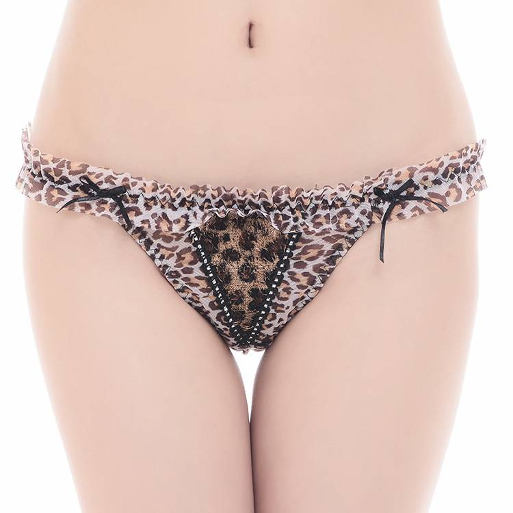 Promotion sexy Leopard mesh thong sexy Underpants lace g-string sexy lady panties women underwear t-