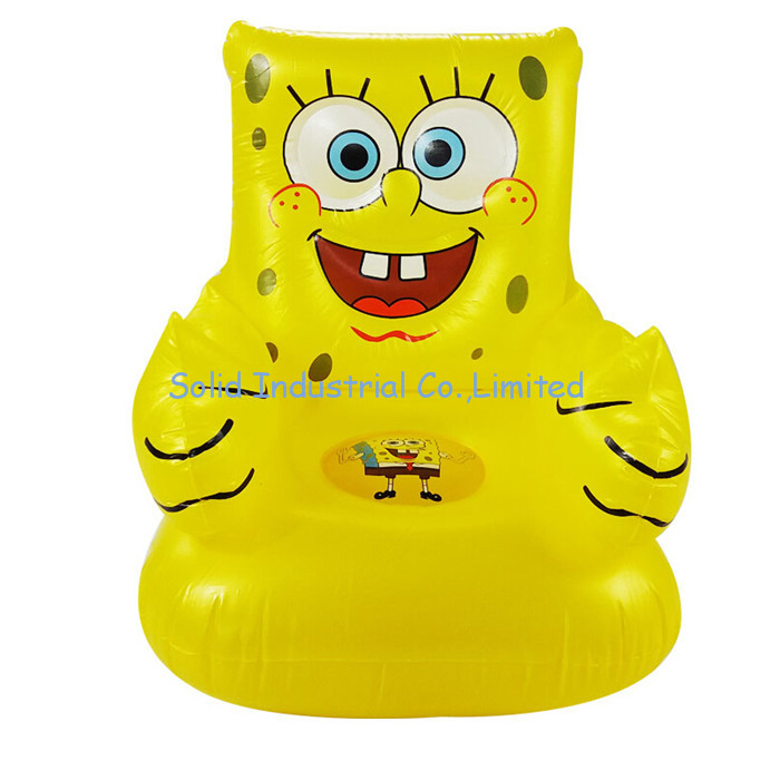 Cute Cartoon Design PVC Inflatable Yellow Sofa for Kids