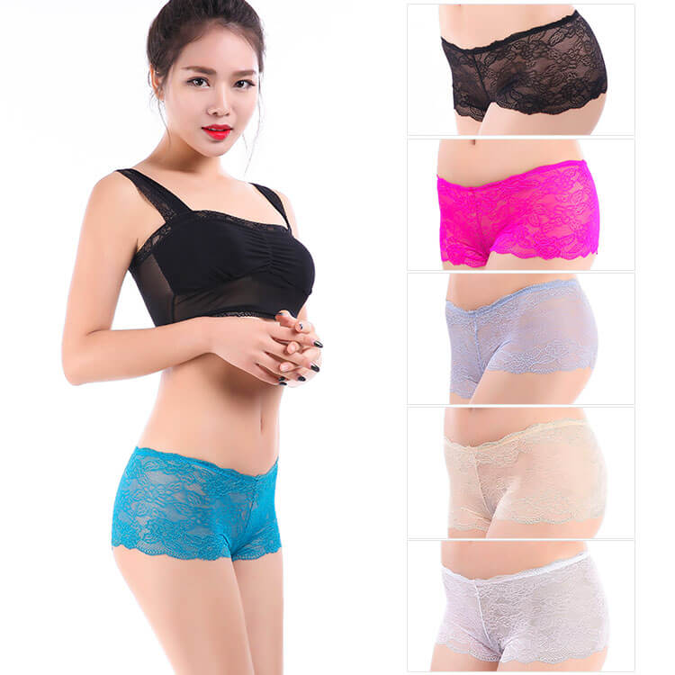 Yun Meng Ni Sexy Underwear Transparent Lace Women Boyshorts Mature Panty Lingerie For Women
