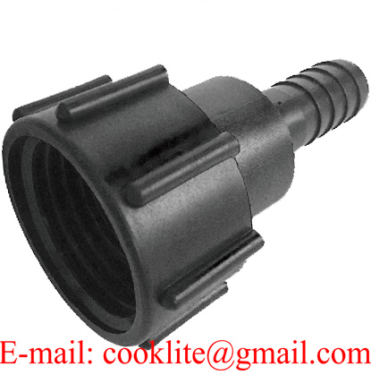 """PP IBC Tank Adapter/Coupling DIN 61 Adaptor Plastic Fittings Connector with 1"""" Hose Barb"""