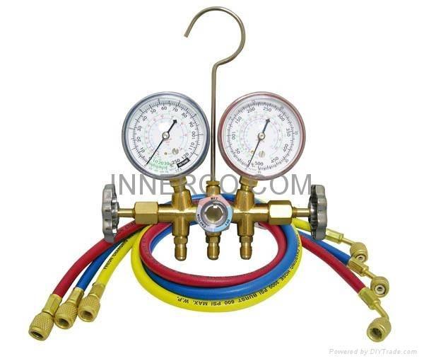 Brass Manifold Gauge R12. R22. R134a. R404A,R407C R410a