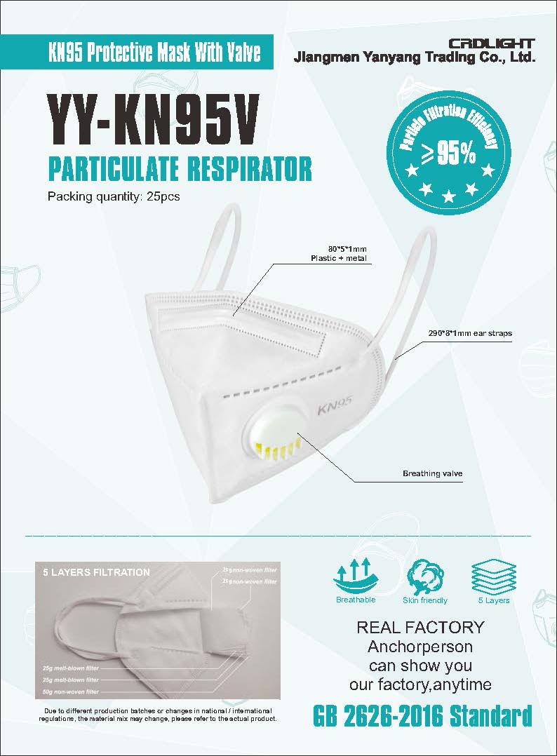 YY-KN95V Civil use Protective Mask with Valve