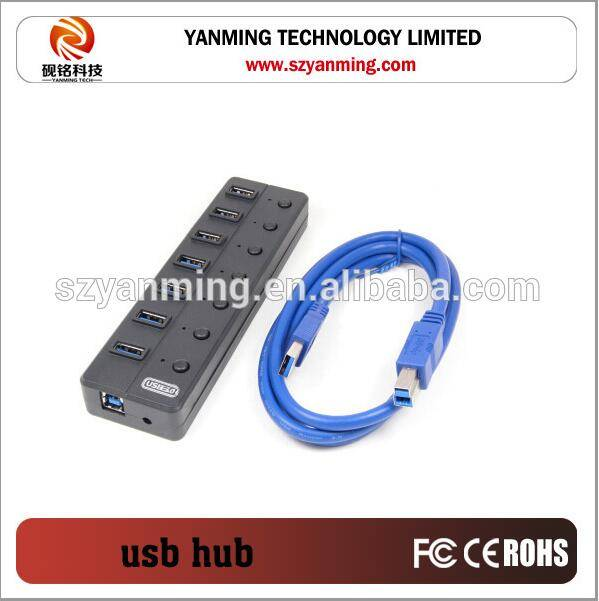 7 ports usb 3.0 hub with usb3.0 cable and switch control