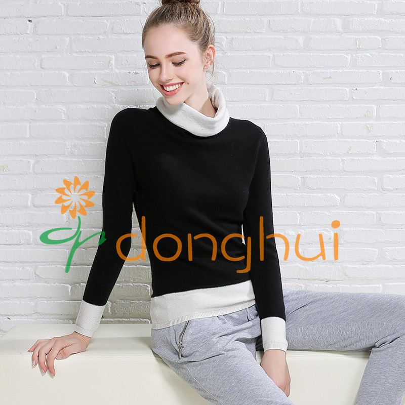 2016 winter women color hits cashmere blended sweater with turtleneck