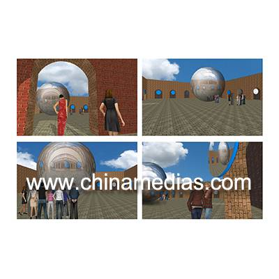 Silver Full color Large Mirrorr ball Inflatable Advertising Balloons
