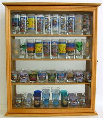 Tall Shot Glass Shooter Display Case, with glass door, Mirror Back, Oak Finish