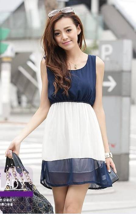 Rayli Style Chiffon Tunic Sleeveless Tank Dress