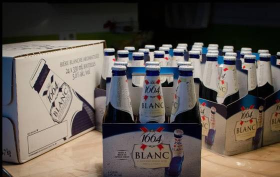 Kronenbourg 1664 blanc beer in blue 25cl, 33cl bottles