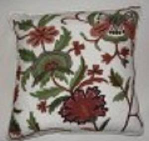 Crewel Pillow Dahiana Forest Colors on Off-White cotton Duck (18x18)