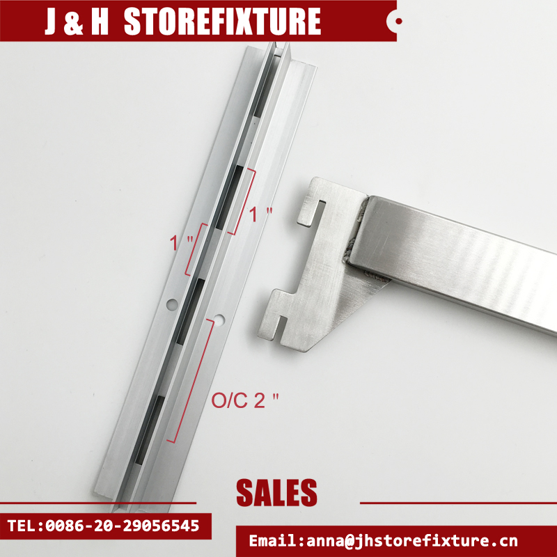 "Satin stainless steel 2"" O/C slotted upright display hook to hanging coat/Wood/glass"