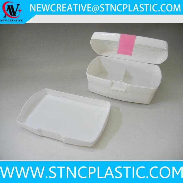 2 compartment plastic lunch box with side open lid