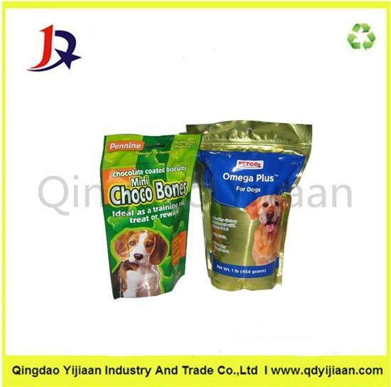 Dog food plastic bag with ziper