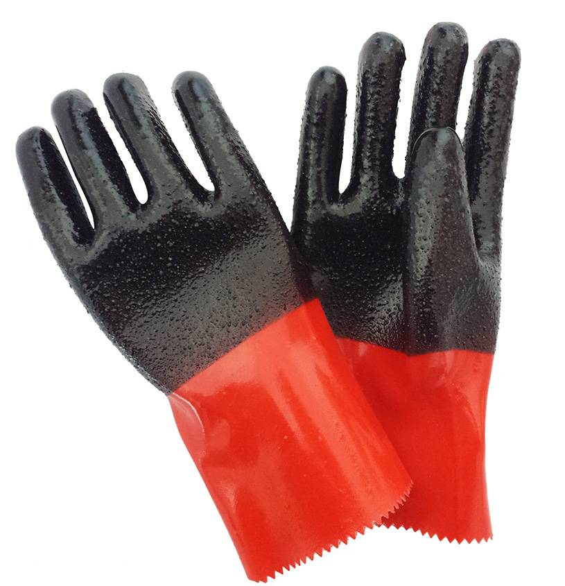 30cm black&red rough fninished PVC working safety gloves