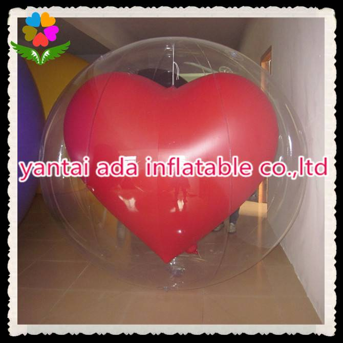 Inflatable Transparent Red Heart Ball
