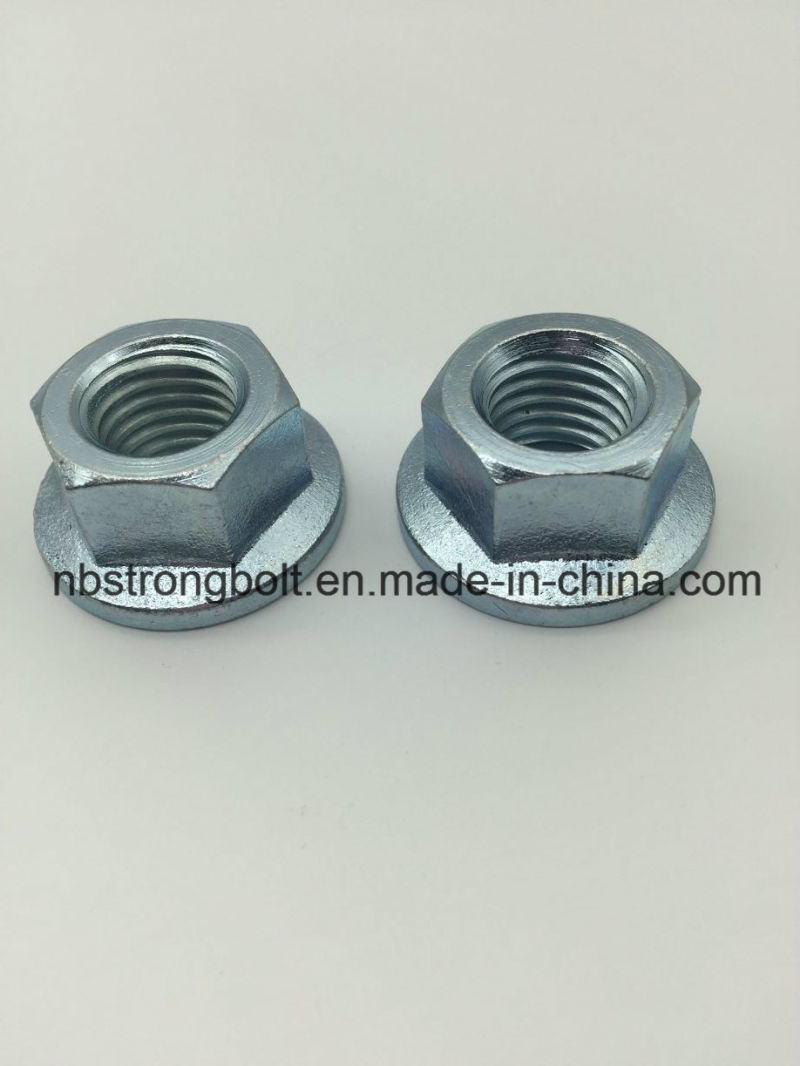 DIN6923 Hex Flange Nut with White Zinc Plated Cr3+