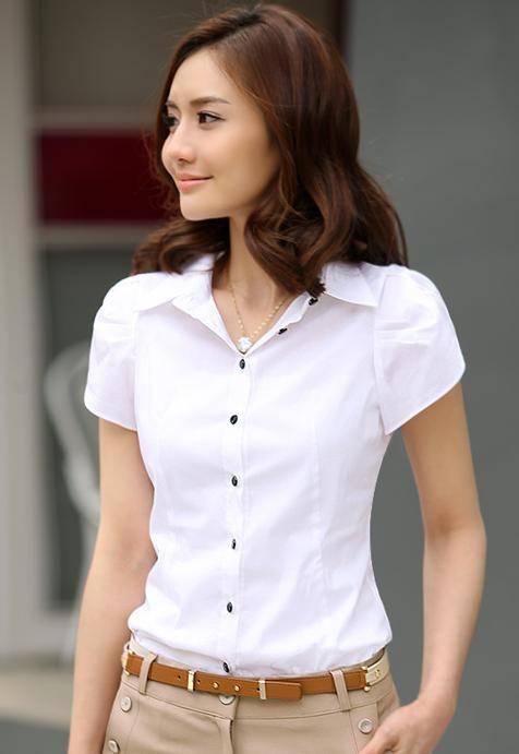 Puff Sleeves Slim Fit Cotton OL Shirt