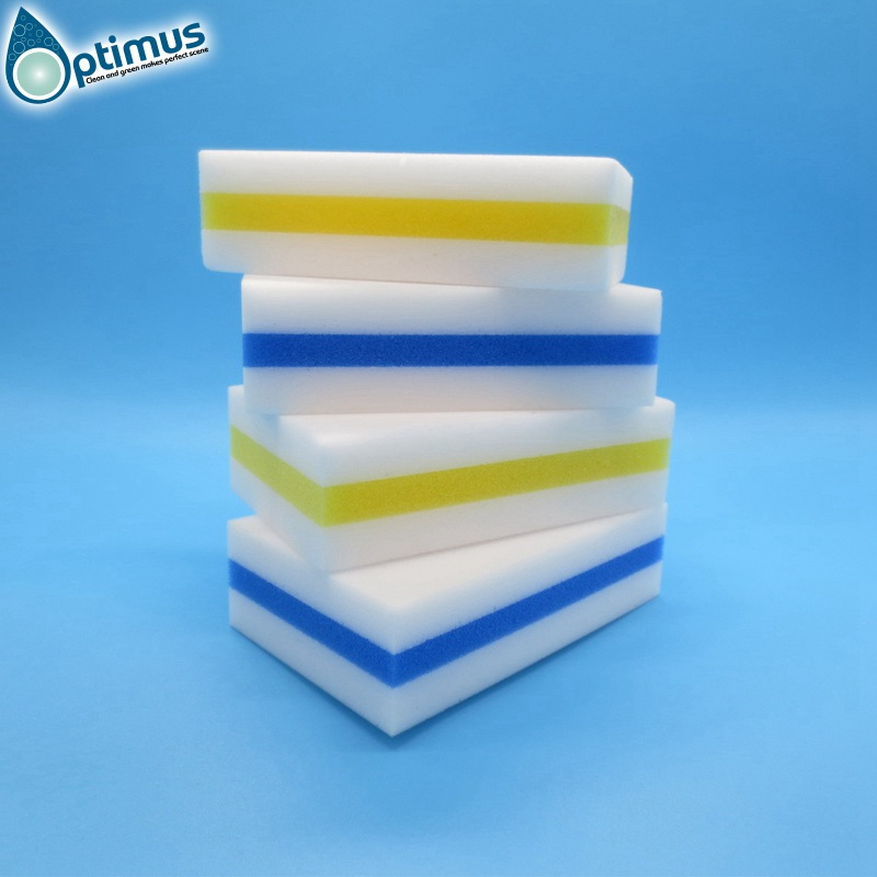 3 three layers melamine sponge magic nano sponge for household kitchen cleaning with blue pu sponge