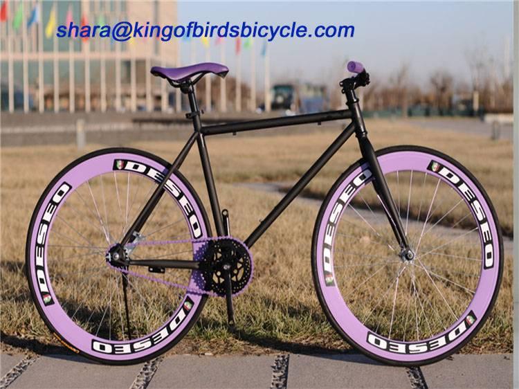 2016 700c single speed fixed gear bike fixer bicycle 60mm alloy rim bike