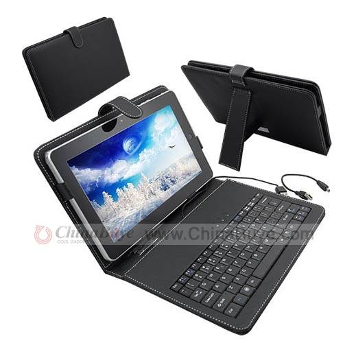 "10"" Ultra-Slim Portuguese Keyboard with Leather Case for Desktop/Laptop"