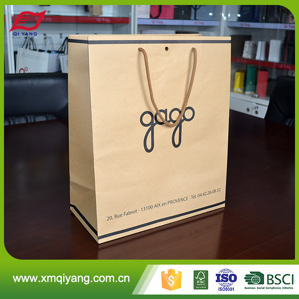 Latest promotional fashion stand up kraft paper bag with your own logo