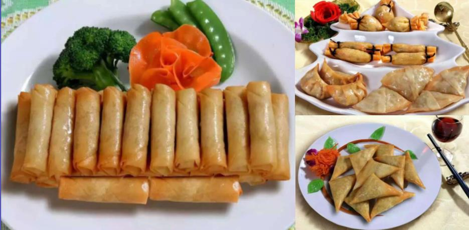 Traditional Chinese Snack Food Spring Roll Samosa Moeny Bag Dim Sum Vegetable Curry Flavor 100% Hand