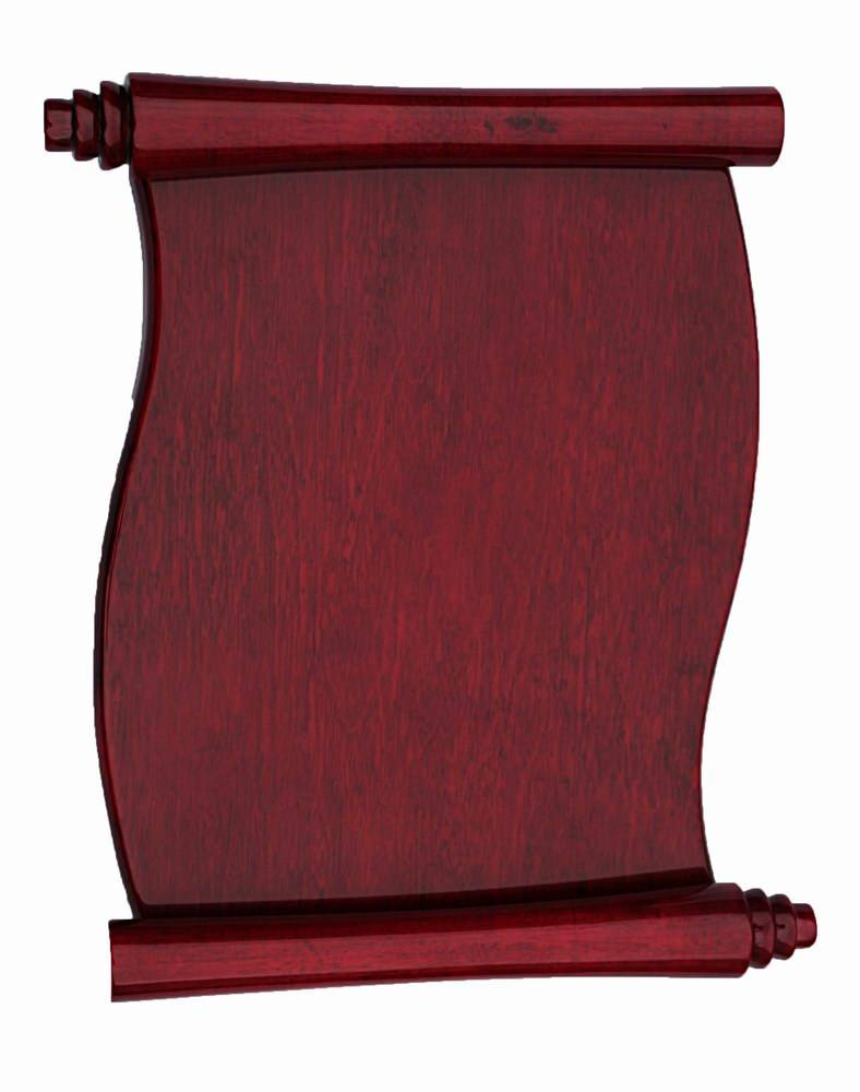rosewood shiny scroll awards plaque