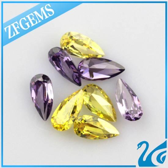 pear cut yellow synthetic loose diamond gemstone cz make in wuzhou