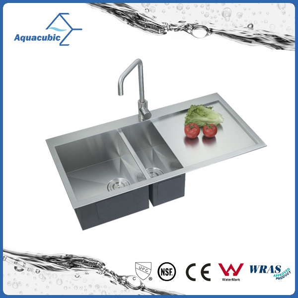 39 Inch Above Counter Double Bowl 16 Gauge Stainless Steel Kitchen Sink (ACS3920A2 )