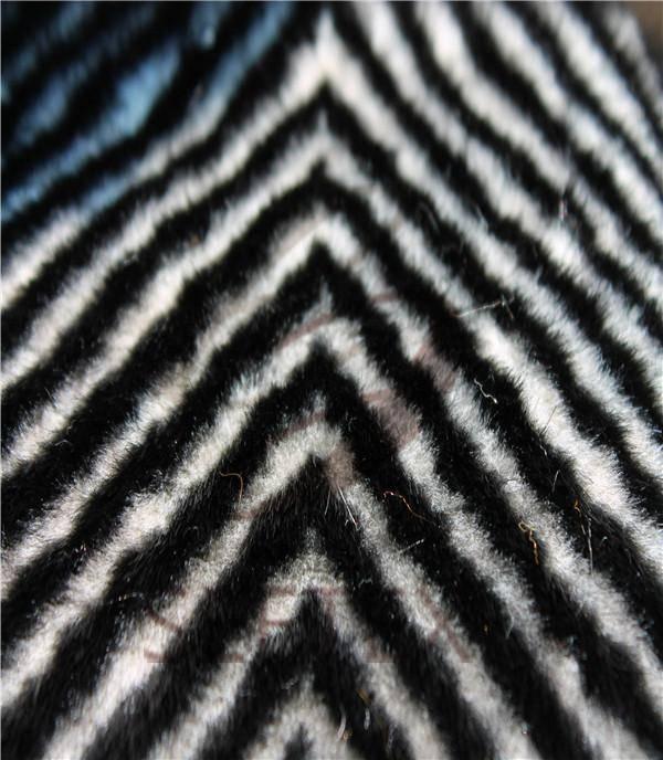 zig-zag textured mink faux fur