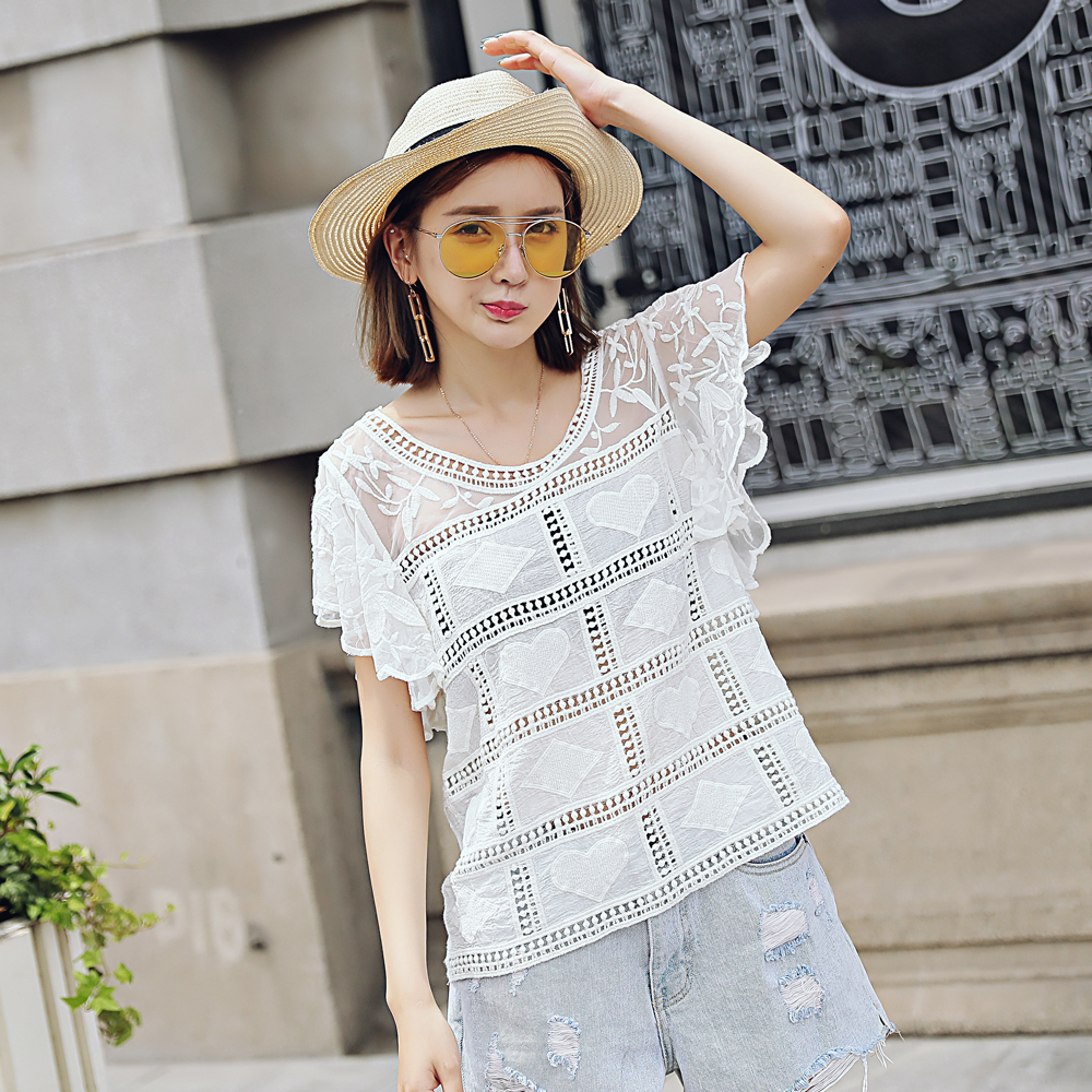 Lace Embroidered Short Sleeve Shirt Computer Embroidered Summer Lace Top Female Summer Lace Top Shor