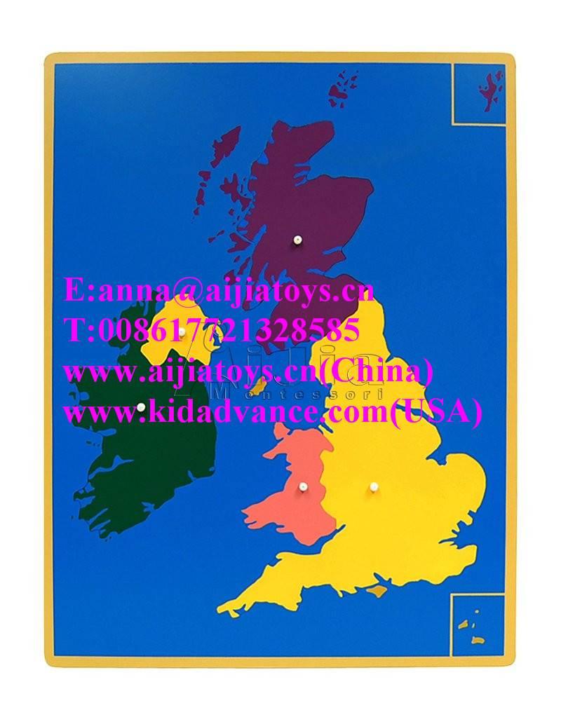 Montessori Puzzle Map of UK,montessori materials toys