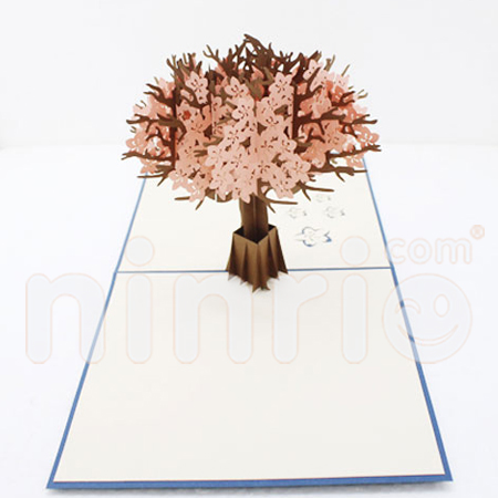 Cherry blossom Pop Up Card Handmade Greeting Card