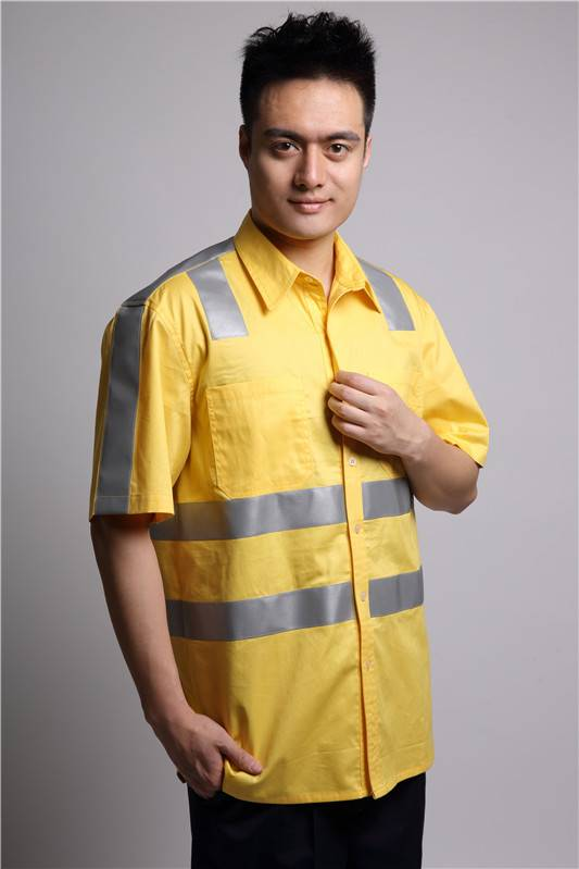 Hi vis yellow 100% cotton electrician work shirt