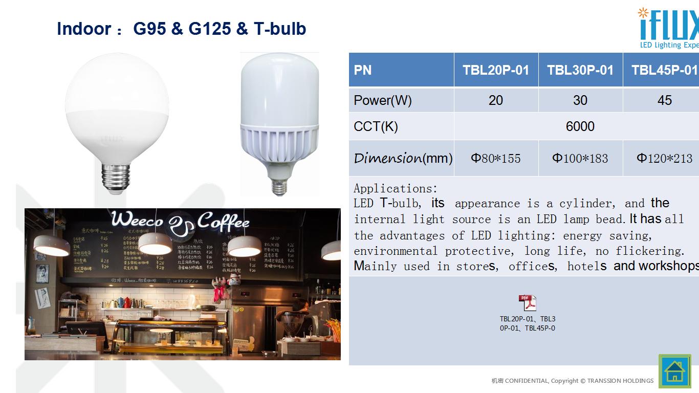 G95 & G125 & T-Bulb led light indoor