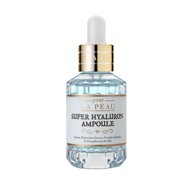 pour LA PEAU Super Hyaluron Ampoule, Non-sticky Hyaluronic Acid with Natural Ingredients for Anti Ag