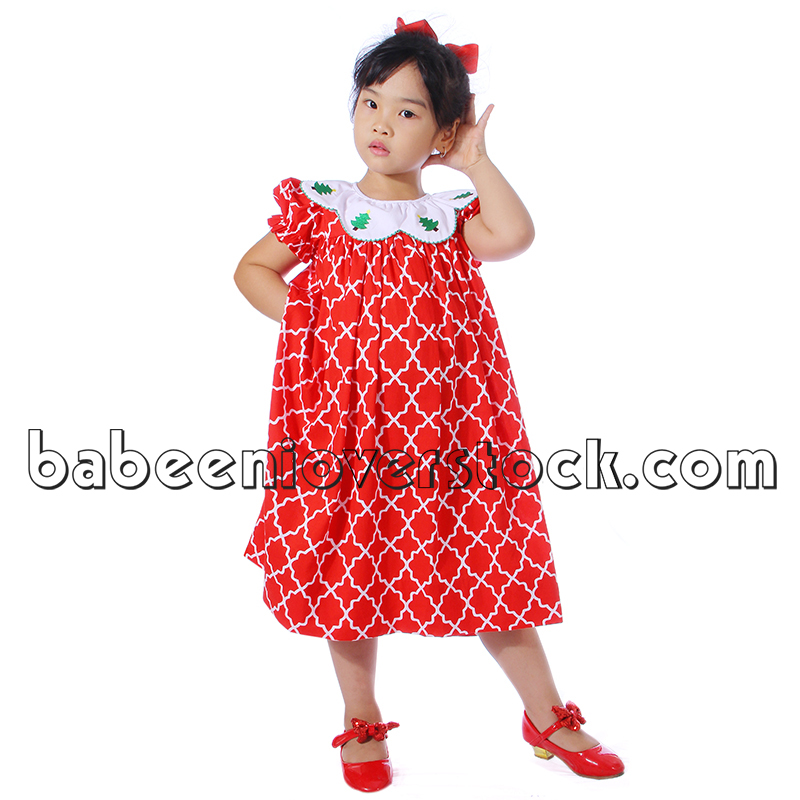 Pretty X-mas tree appliqued dress for little girls - BB845