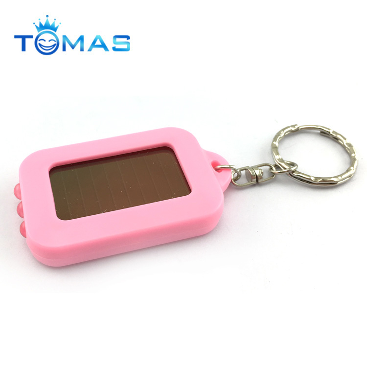 Personalized Plastic Solar Keychain LED Flashlight Keychain with Custom Logo