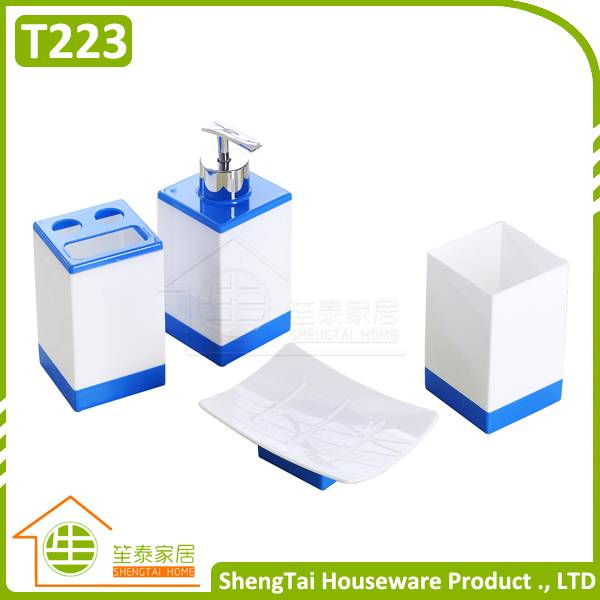 Rectangular Cheap Price Elegant Plastic Bathroom Accessories Sets For Gift