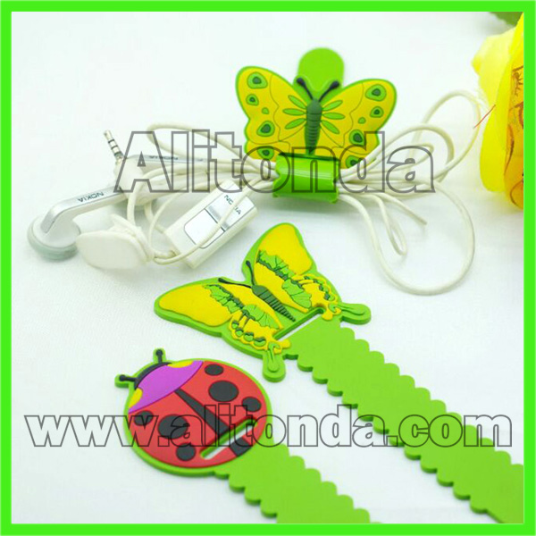 Soft pvc cartoon animal butterfly flower cute small cable tidy for earphone data
