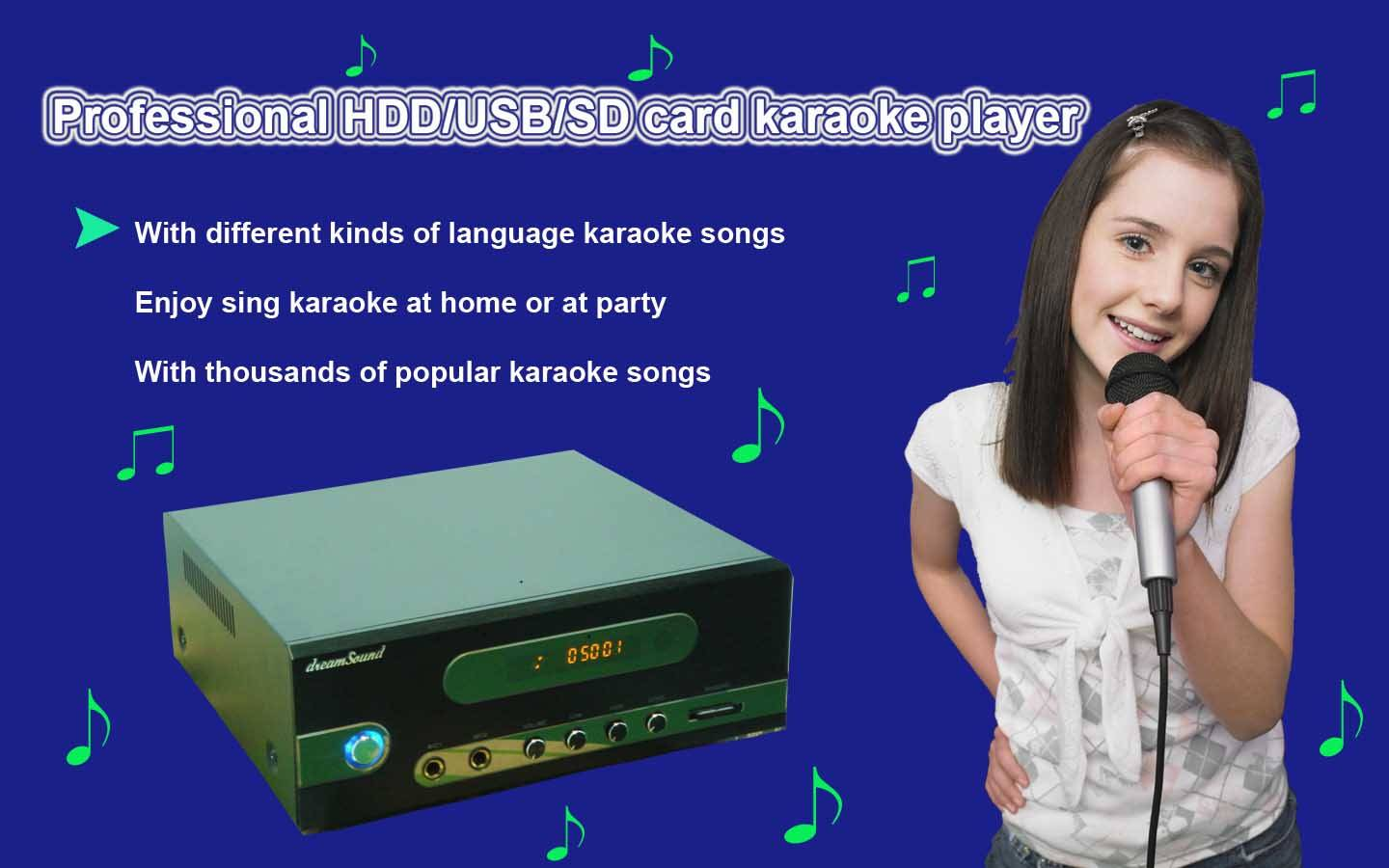 Protable HDD/USB/SD Professional karaoke Player