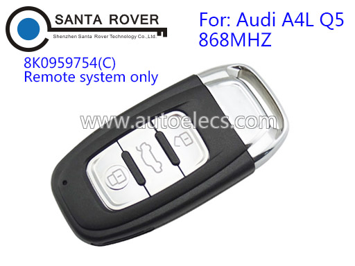 For Audi A4L Q5 Smart Remote Key Card 3 Button 8K0959754(C) 868Mhz With Emergency Key